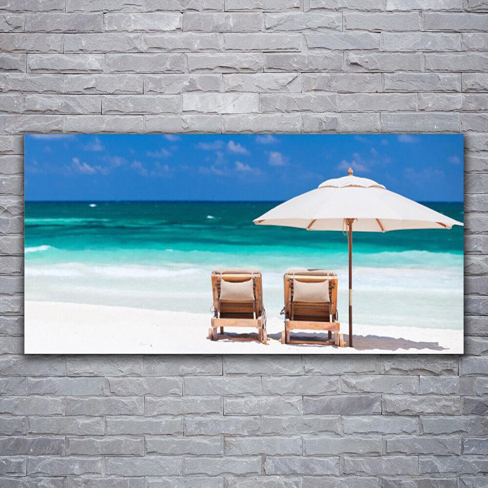 Verre Imprimer Wall Art Image 120x60 Photo Plage Transats paysage