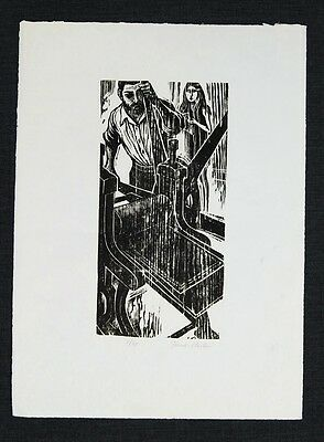 "Frank Martin  The Plate Printer 1967  Woodcut Print 15.75"" x 11.75"""