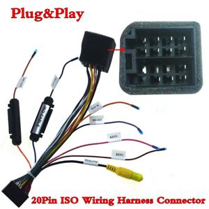 ISO-20Pin-Arnes-de-cableado-Conector-Con-Adaptador-de-camara-de-vision-trasera-para-auto-Stereo-DVD