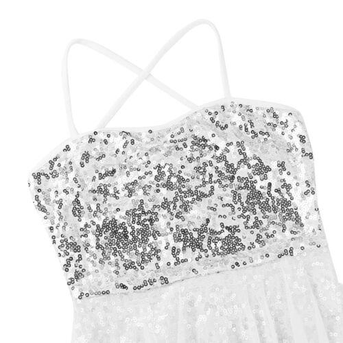 Damen Spaghetti Träger Tanz Kleid Pailletten Ballett Trikot Bodysuit mit Rock
