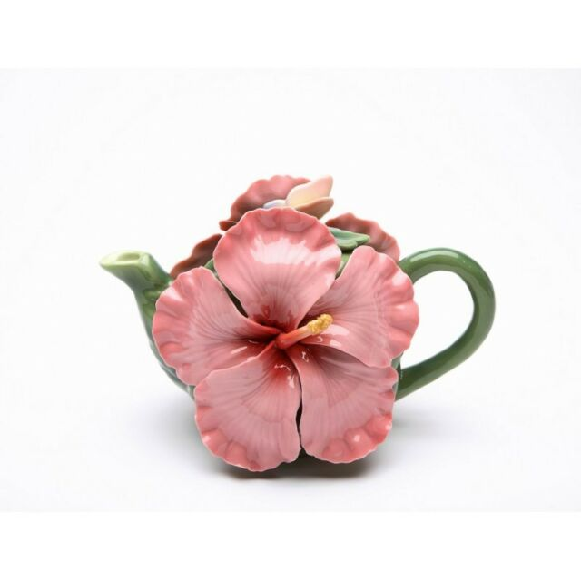 COLLECTIBLE PORCELAIN BUTTERFLY ON PINK HIBISCUS FLOWER TEAPOT+NEW IN BOX