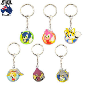 Sonic-the-Hedgehog-Sonic-Amy-Tails-Cream-Espio-Silver-PVC-Keyring-Keychain