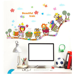 Enfants Train Animaux Sticker Mural Autocollant Lion Singe Lapin Sticker-afficher Le Titre D'origine Prix ​​De Vente