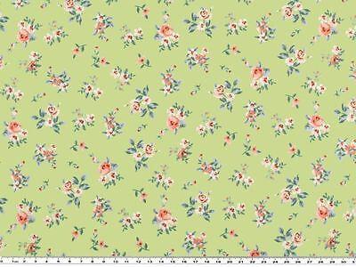 Baumwoll-Druck, Stoff, Rosen- Blumen, in Pastellfarben, 142-145cm breit