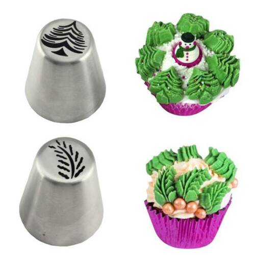 2pcs Stainless Steel Pastry Cookie Cake Baking Mold XMAS Tree Leaf Mould Tools