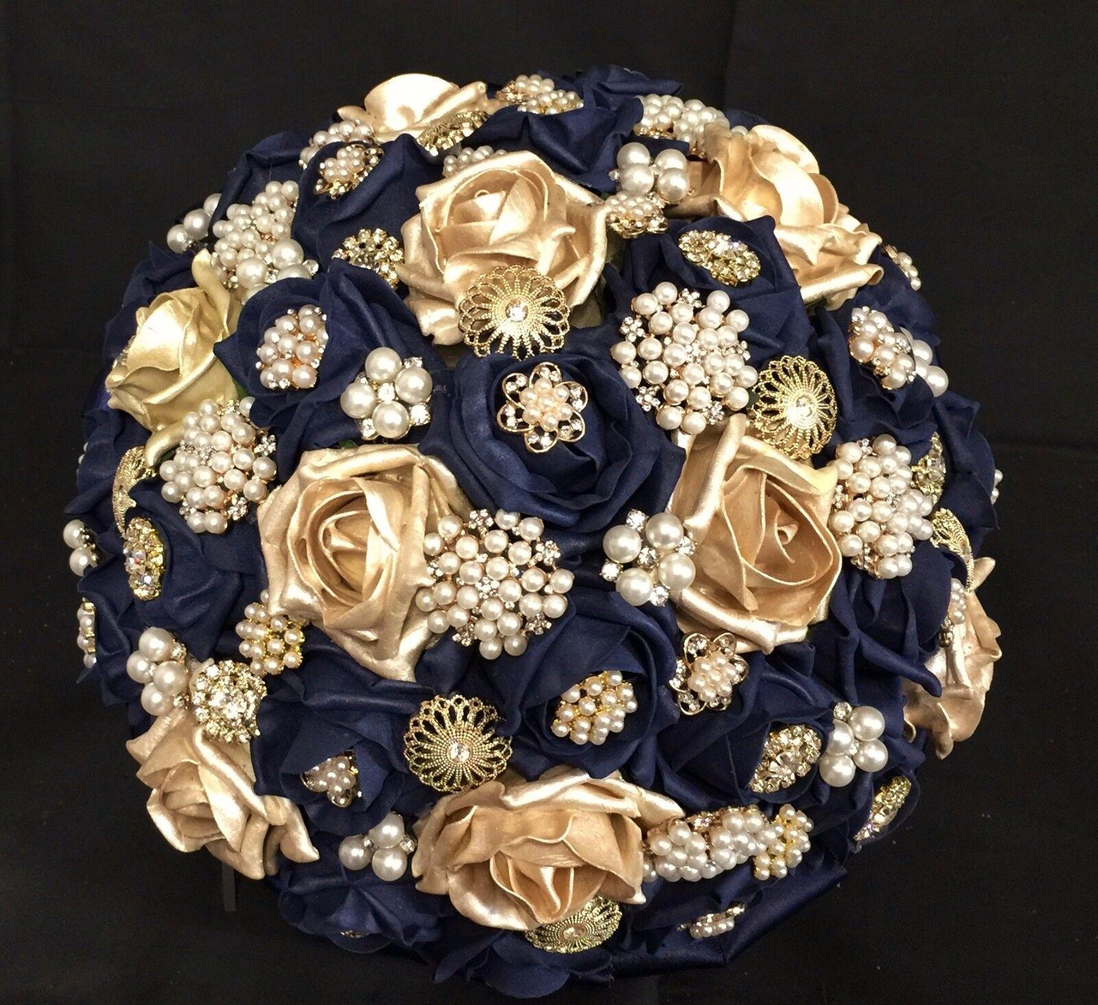 Bleu marine et or roses broches brides bouquet de fleurs, Indian, asian, mariages