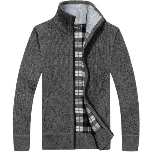 Homme Fermeture Éclair Épais Polaire Doublé Hiver Cardigan Classique Pull Cardigan