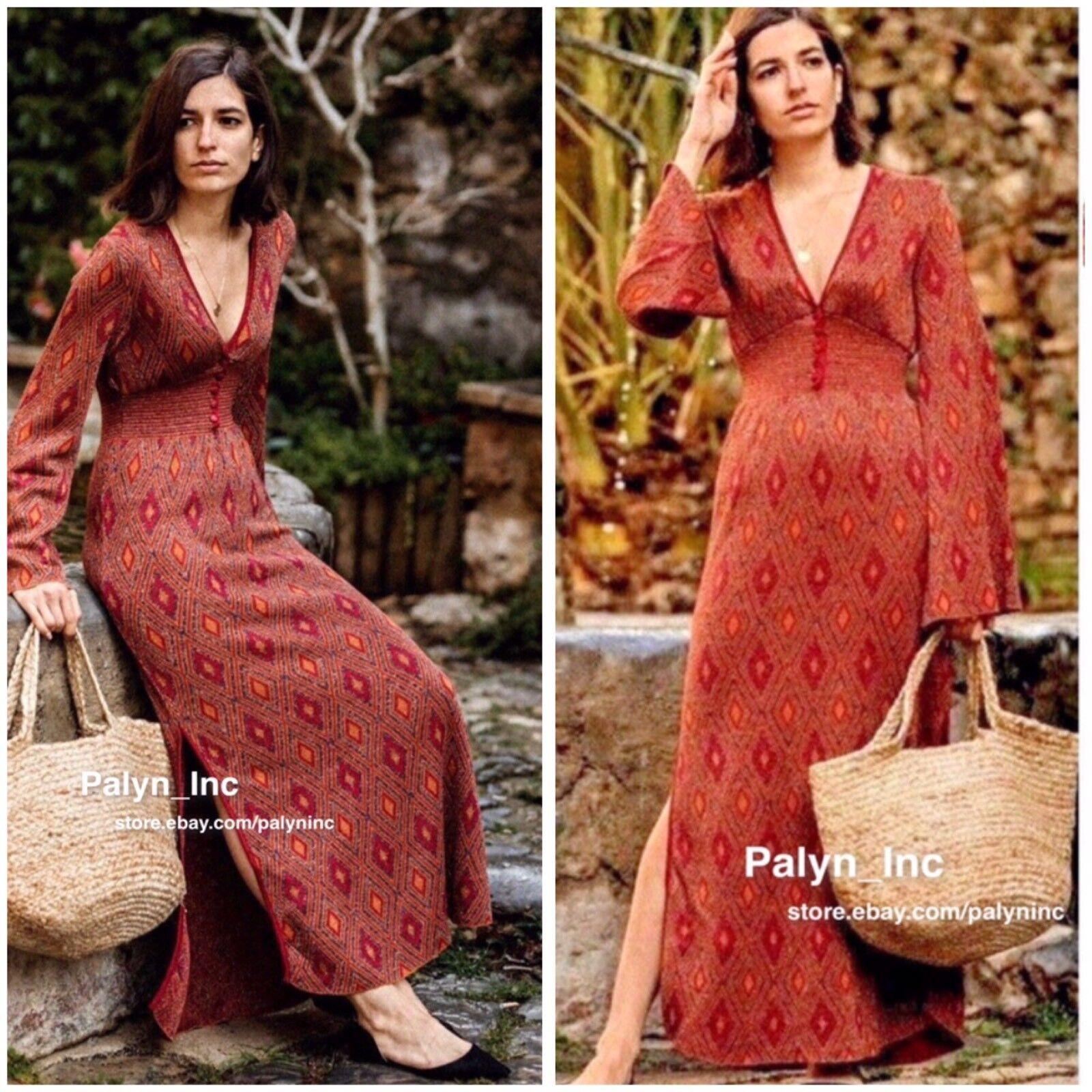 Nwt Zara SS18 Lang Strick Metallic Jacquard Kleid 6771 007 _ S