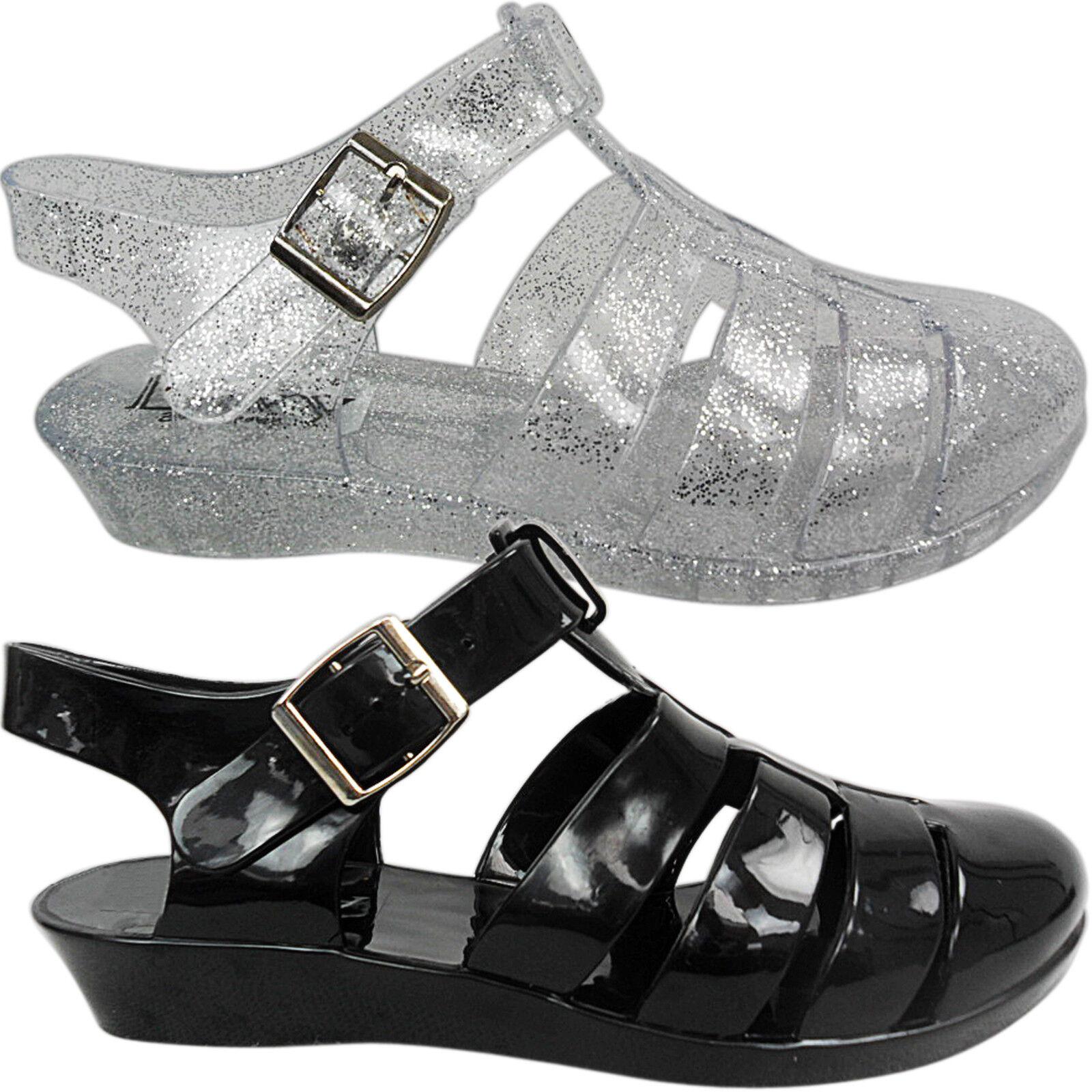 NEU Damen kleiner Keilabsatz Jelly Bean Gelees Sandaleen Schuhe Größe