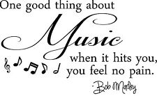 ONE GOOD THING ABOUT MUSIC Bob Marley Wall Decal Quote Words Lettering Vinyl