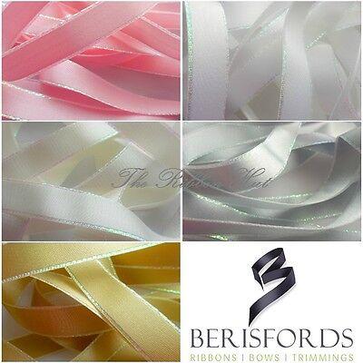 10mm 25mm  Free P/&P 15mm Berisfords #1 PURE WHITE Satin Ribbon 3mm 7mm