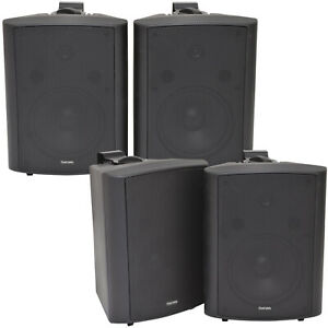 4x-180W-Black-Wall-Mounted-Stereo-Speakers-8-8Ohm-LOUD-Premium-Audio-amp-Music