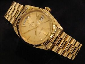 Mens-Rolex-Day-Date-President-Solid-18K-Yellow-Gold-Watch-Champagne-Fluted-1803