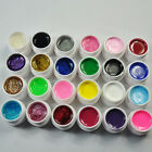 NEW 24 Solid Pure Glitter Mix Color Manicure Art Nail UV Gel Builder Decor Set