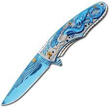 "CN300399BL Blue 4.5"" A/O Folding Knife Mermaid Artwork Handle Folder"
