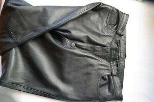 Schwarze-Herren-Nappa-Lederhose-Gr-54