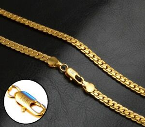 18k-Yellow-Gold-Men-039-s-Women-039-s-5mm-Wide-Link-Chain-20-034-Necklace-Gift-Pkg-D517G