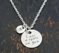 Personalized I Put A Spell On You Necklace - Choose An Initial, Witch Jewelry