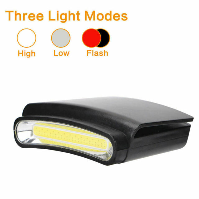 Clip-On COB LED Head Torch Cap Hat Light Headlamp Fishing Camping Headlight
