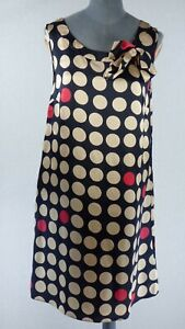 Tommy Hilfiger Polka Dot Spotty Black Shift Dress Bow detail Size UK 8 Silk Blen