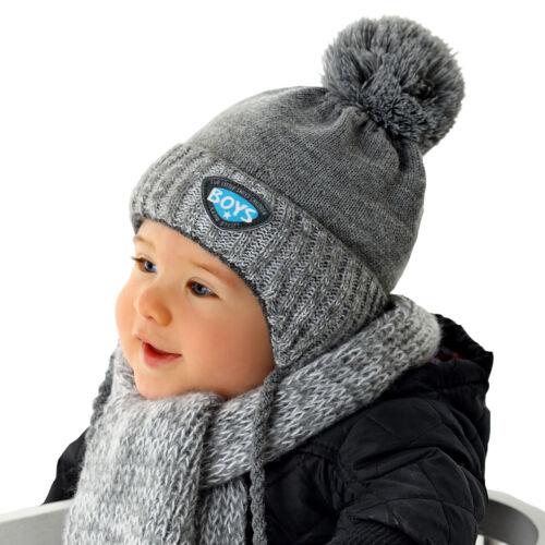 AJS Baby Jungen Winterset Set Mütze Wintermütze Strickmütze Schal mit Wolle