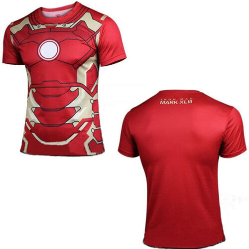 New Mens Compression Marvel Superhero Short Sleeve T-shirt Summer Top Sport Wear