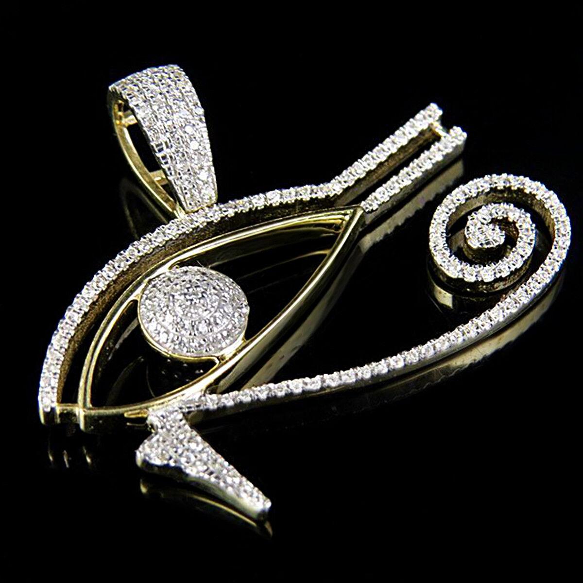Men's 14K Yellow gold Over VVS1 Diamond Eye Of Horus Pendant Charm 0.50 Ct