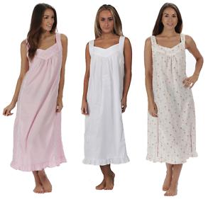 27572374a4 100% Cotton Nightdress Sleeveless Nightie 10 12 14 16 18 20 22 24 26 ...