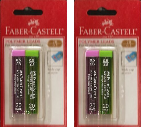FABER 40 PCS PACK CASTELL REFILL POLYMER PENCIL LEADS 2B 0,5MM /& 0,7MM