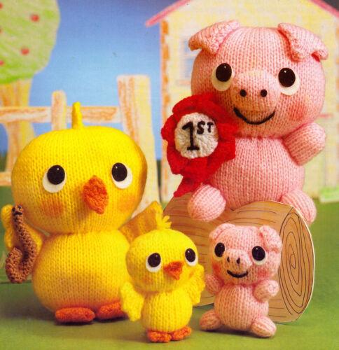 Juguete Posy el cerdo /& Sunny la Chick-Tejer patrón DK-Muy Lindo!