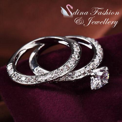 18K White Gold Plated Simulated Diamond 0.85 Ct Round Cut Wedding Ring Set