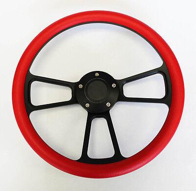 "1969-1993 Pontiac GTO Firebird RED ON BLACK STEERING WHEEL 14"" Very Nice"