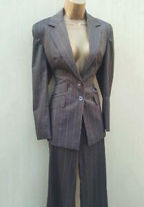 10 lavoro Brown 12 Stripe Pantaloni Uk 2 Giacca Karen Millen pezzi Taglie da HfxX1qw55