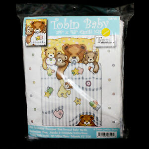 Nouveau-Tobin-Baby-Quilt-Kit-T21719-Teddy-Bears-estampille-Needle-Point-34-034-X-43-034