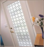 Tudor Privacy Frosted Leaded Glass Look Static Cling Decorative Window Film