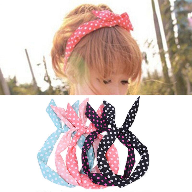 Cute Korean Dots Bunny Rabbit Ear Ribbon Headwear Hairband Metal Wire Scar J_hg