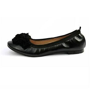 Ladies Black Ballet Pumps Leather-Look