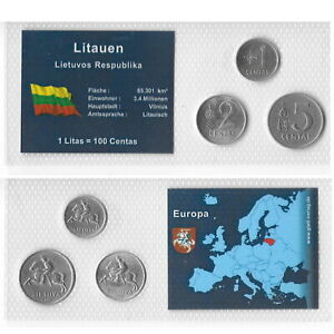 LITHUANIA 1-2-5 CENTAI 1991 UNC Sealed in Coincard. B9