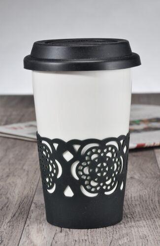 Autobecher potable Gobelet Tasse En Céramique Avec Noir en Silicone Couvercle