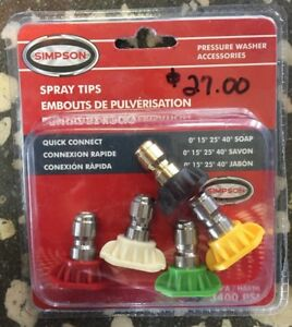Pressure Washer Universal Spray Nozzles 3400 PSI Set of 5 40 wQuick Connect - Land O' Lakes, Florida, United States - Pressure Washer Universal Spray Nozzles 3400 PSI Set of 5 40 wQuick Connect - Land O' Lakes, Florida, United States