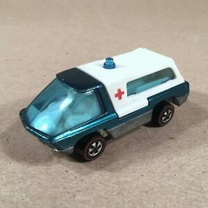 1969-MATTEL-HOT-WHEELS-REDLINE-HEAVYWEIGHTS-Teal-Ambulance-Very-Good-Condition