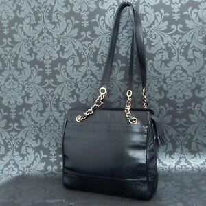 3863ea497714 Rise-on Vintage CHANEL Black Caviar Skin Leather Shoulder bag Tote ...