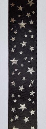 3 m 25 mm ou 38 mm Star Design Simple Face ruban de satin Silver Stars 4 Couleurs