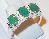 Three-stone Brazilian Emerald Ring In Sterling Silver, 1.25ct., Size L.