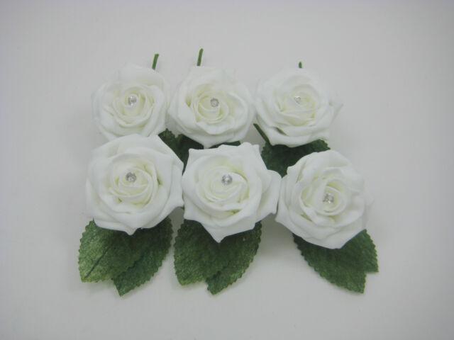 6 x  Wedding Buttonholes with Diamante. Various Colours, Groom, Best Man