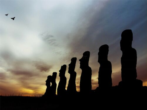 ART PRINT POSTER PHOTO LANDMARK MOAI EASTER ISLAND SILHOUETTE LFMP1169