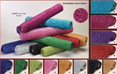 Lurex Elastic Sponge Fabric Rolls Shiny Sparkle Bling Overlay Wedding Decorative