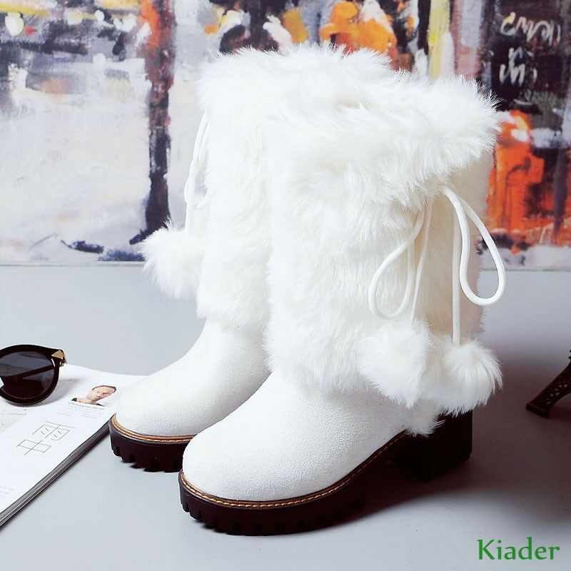Winter Women Girl Warm Fur POMPOM Snow Boot Leather Block High Heels shoes SZ