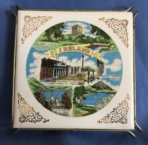 Vtg-FM-Ireland-Country-Souvenir-Ceramic-Tile-Trivet-Hot-Plate-Metal-Base-Legs