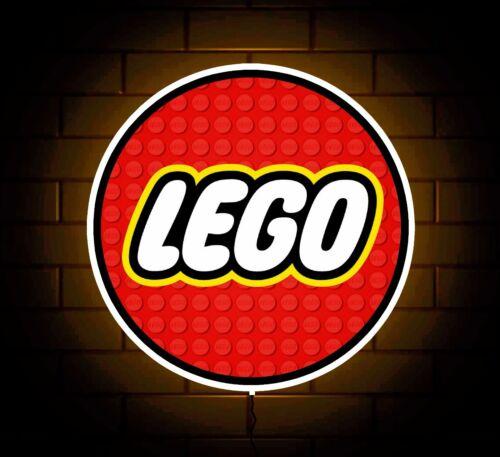LEGO BADGE SIGN LED LIGHT BOX BOYS GIRLS BEDROOM GAMES NURSERY TOY ROOM GIFT